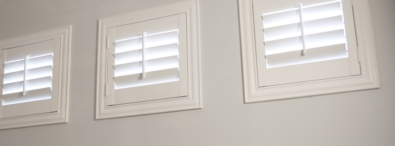 Square Windows in a Raleigh Garage with Plantation Shutters